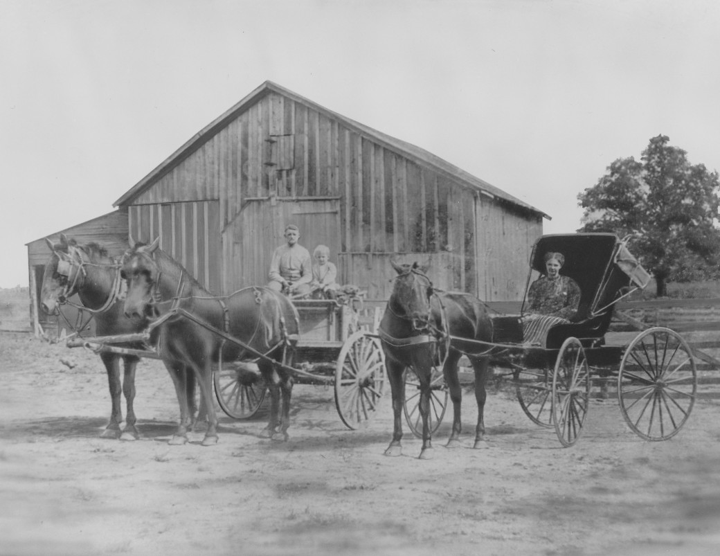 3 generations - grandpa poffenbarger in wagon with elmer huffman, & his mother, stella huffman, in buggy